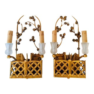 Chinoiserie Basket Glass Flower Sconces - A Pair