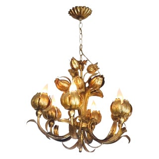 Mid Century Hollywood Rengency Lotus Chandelier