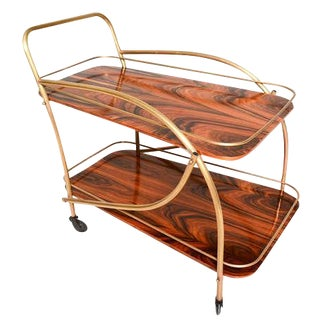 Brazilian Rosewood Double Deck Service Cart