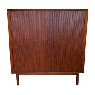 Danish Modern Tambour Door Cabinet
