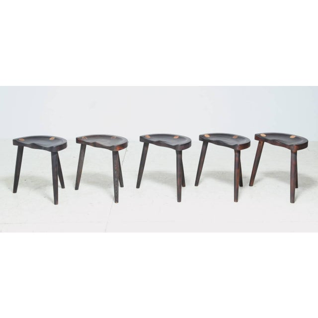 Robert Roakes Handcrafted Tripod Studio Stools, USA, 1970s - Image 2 of 7
