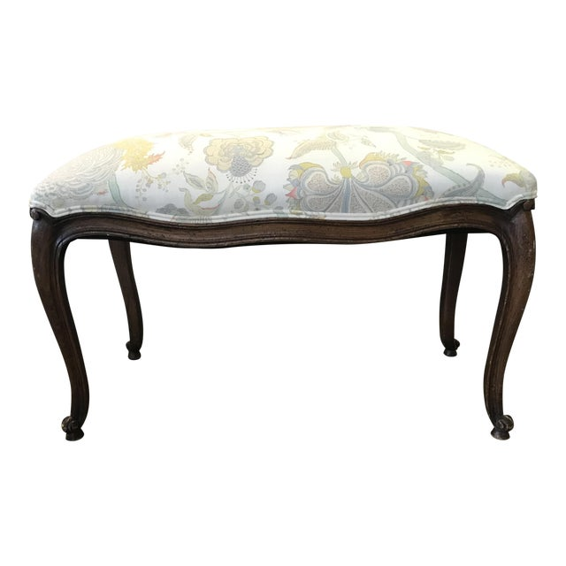 Itallian Upholstered Wood Ottoman - Image 1 of 8
