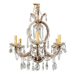 Heavily Beaded Small Six-Light Maria Theresa Chandelier
