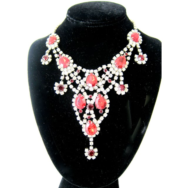 Image of 1940s 50s Red & Glass Runway Necklace