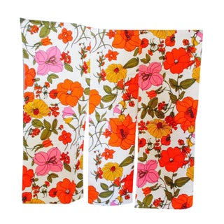 Vintage Swedish Flower Wall Panels Curtains Textile - Set of 4