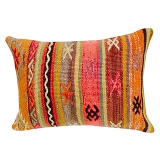 Turkish Orange & Tan Striped Kilim Pillow