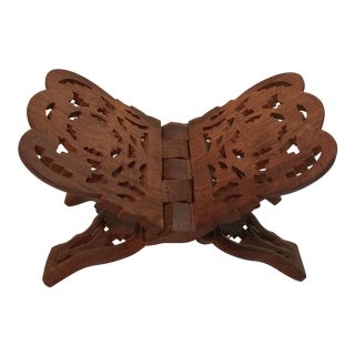 Vintage Hand Carved Wooden Book Stand