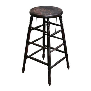 Black Worn Wooden Stool