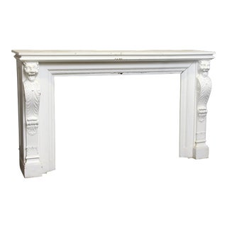 Carved White Wood Griffin Mantel