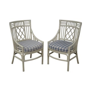Quality White Rattan Bamboo Arm Chairs - A Pair