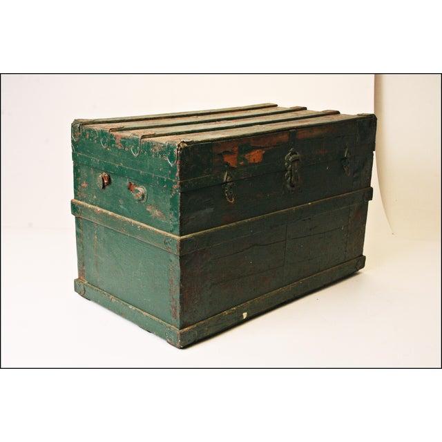 Vintage Industrial Green Wood Steamer Trunk - Image 4 of 11
