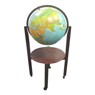 Mid-Century Lighted World Globe on Stand