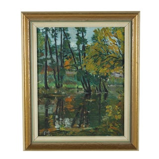 """""""Pond Reflections"""" Framed Oil Painting"""