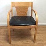 Image of Bentwood and Leather Vecta Arm Chairs - Pair