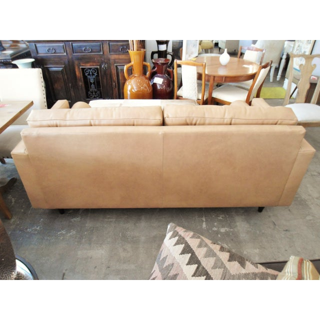 Modern Mocha Leather Sofa - Image 5 of 7