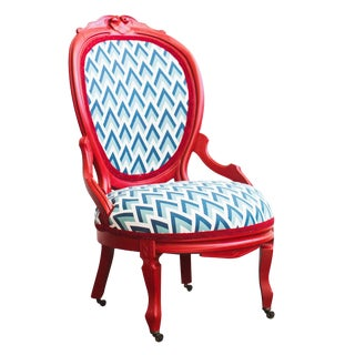 Refurbished Vintage Red Accent Chair