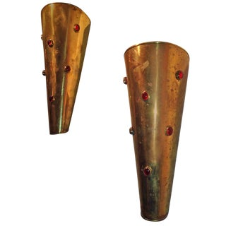 Pair of Brass Wall Sconces with Ruby Red Cabochon Glass
