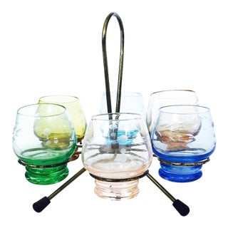 Colorful Vintage Cordials With Brass Stand - Set of 6