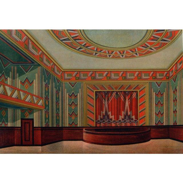 Art deco teal orange theater pochoir print 1929 chairish for Pochoir deco
