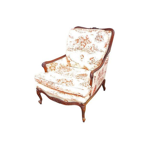 Antique French Toile Fauteuil And Ottoman - Image 5 of 10