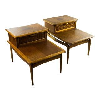 Lane Mid-Century Modern Basket Weave Step Tables - A Pair