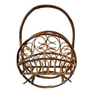 Mid-Century Modern Rattan Bamboo Magazine Rack