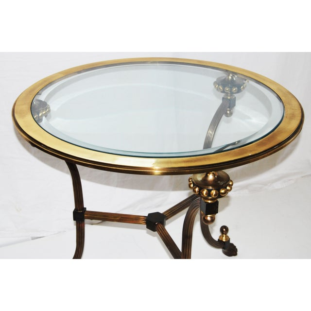 Image of Round Glass Italian Brass Side Table