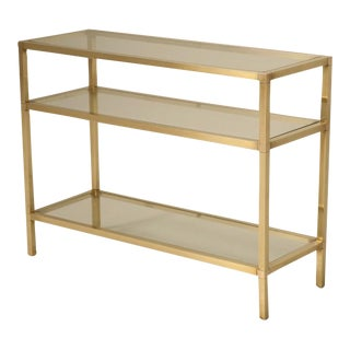 Vintage French Modern 3 Level Brushed Brass & Glass Console Table