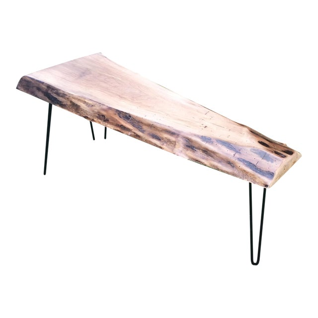 Mid Century Walnut Live Edge Coffee Table: Live Edge Walnut Slab Hairpin Leg Coffee Table