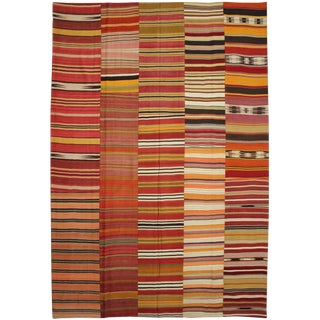 "Hand Knotted Antique Patchwork Kilim - 12'6"" X 9'8"""