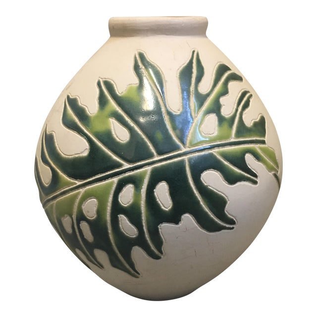 Cream & Green Ceramic Vessel - Image 1 of 4