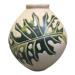 Image of Cream & Green Ceramic Vessel