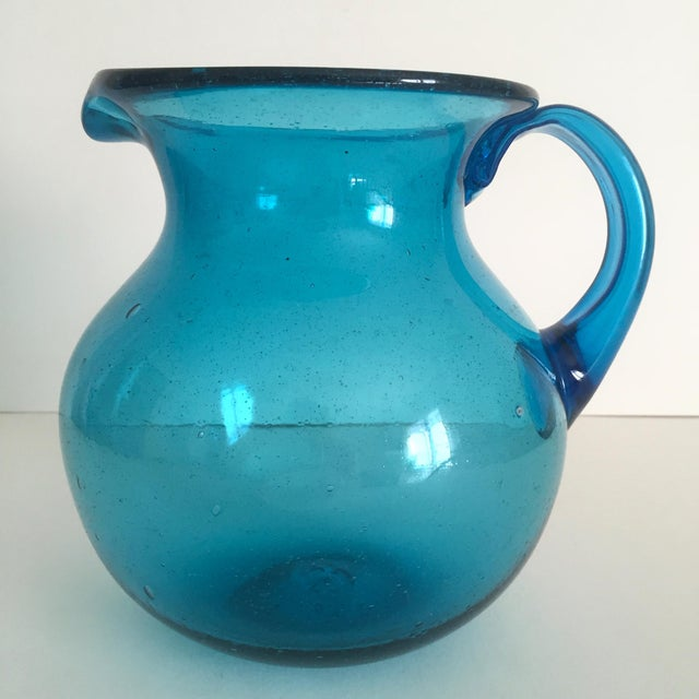 Mid-Century Blue Blenko Glass Pitcher - Image 9 of 11