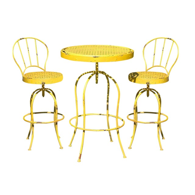 Yellow Metal French Bistro Garden Table & Chairs - Image 1 of 5