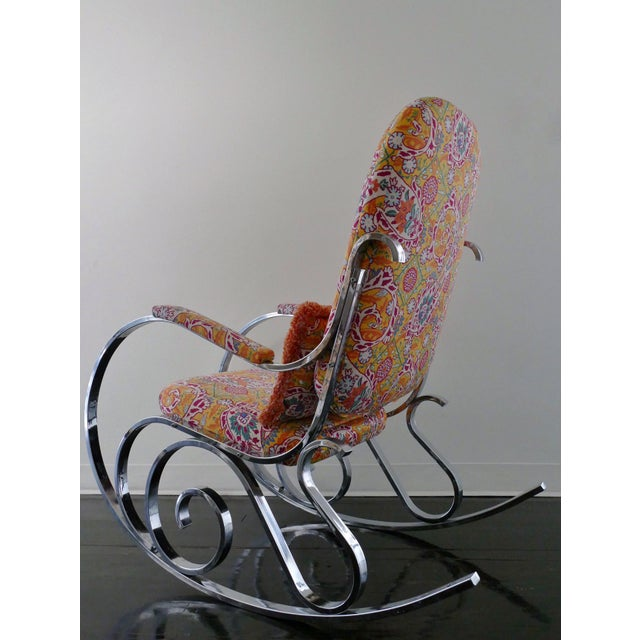 Vintage Mid-Century Modern Rocking Chair Upholstered in Brunschwig & Fils Fabric - Image 3 of 8