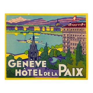 Vintage Luggage Label, Geneve Hotel De La Paix