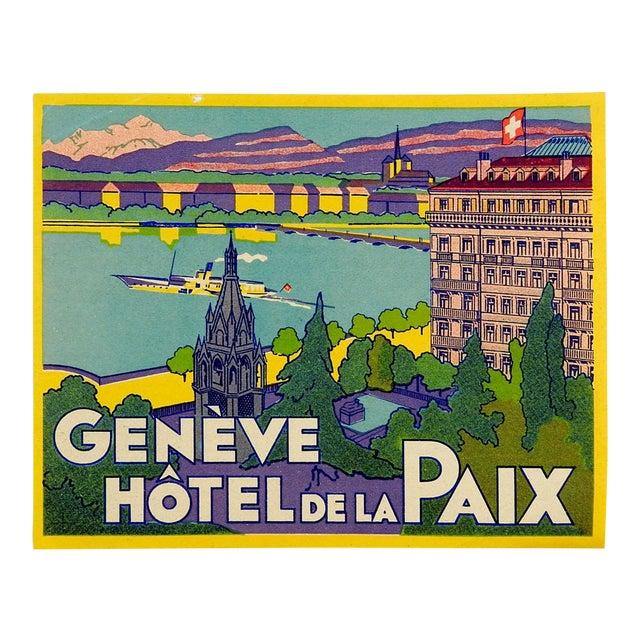 Vintage Luggage Label, Geneve Hotel De La Paix - Image 1 of 3