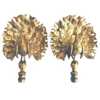 Pair of Bronze Peacock Finials