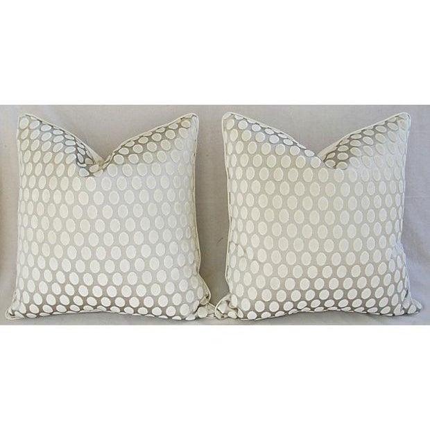 Designer Platinum/White Velvet Dot Pillows - Pair - Image 7 of 8