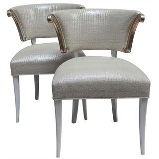 Klismos Scroll Arm Side Chairs - Pair