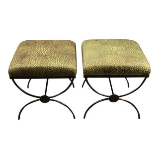 Maison Jansen Style Curule Benches with Missoni Fabric - A Pair