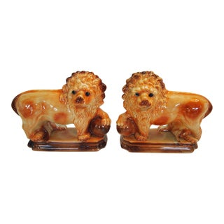 English Staffordshire Pottery Lions - A Pair