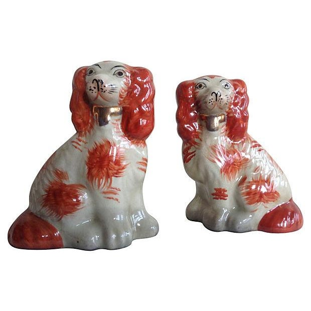 Image of English Porcelain Staffordshire Russet Dogs - Pair