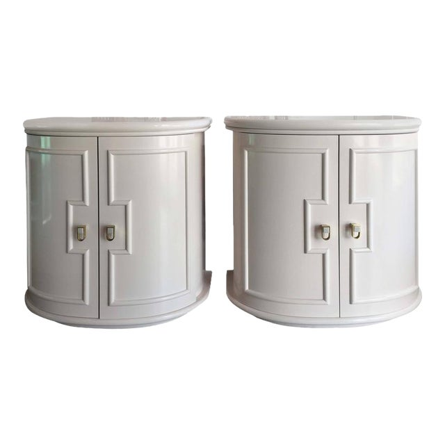 Vintage Pink Lacquered Chests Nightstand Demilune Tables - a Pair - Image 1 of 11