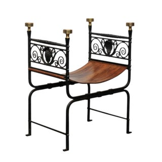 English Campaign Iron, Brass and Leather Stool from the Turn of the Century