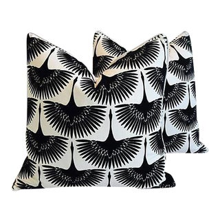 """24"""" Custom Tailored Abstract Birds in Flight Velvet Feather/Down Pillows - a Pair"""