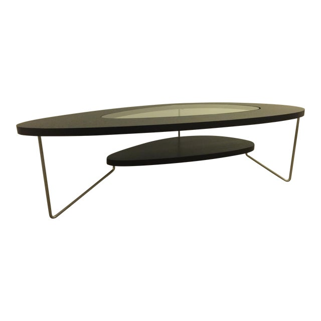 Modern Oval Wood Glass Coffee Table Chairish