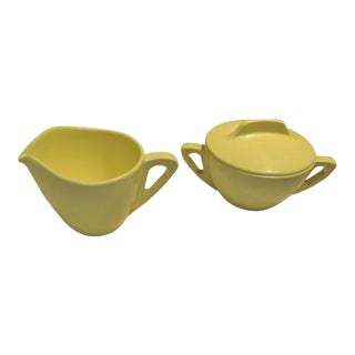 Retro Pale Yellow Melmac Prolon Ware Creamer and Sugar With Lid