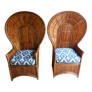 Vintage Bamboo Peacock Chairs - A Pair