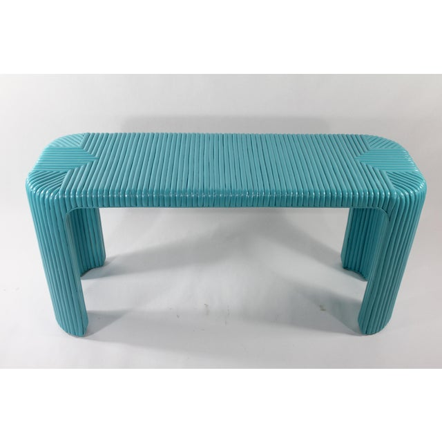 Bamboo Console Table With Aquamarine Lacquer - Image 4 of 5